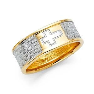 14K Two Tone Gold Lord Prayer Band